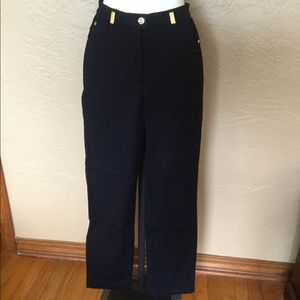 St. John Sport Marie Gray Logo Navy Pants 2 EUC